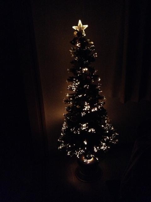 自宅のリビングで幻想的な光で輝くクリスマスツリーに見惚れる