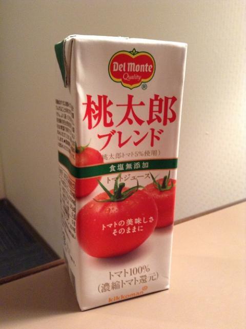 Delmonte Quality 桃太郎ブレンド(桃太郎トマト5%使用)食塩無添加トマトジュース(紙パック、200ml)を飲んだ