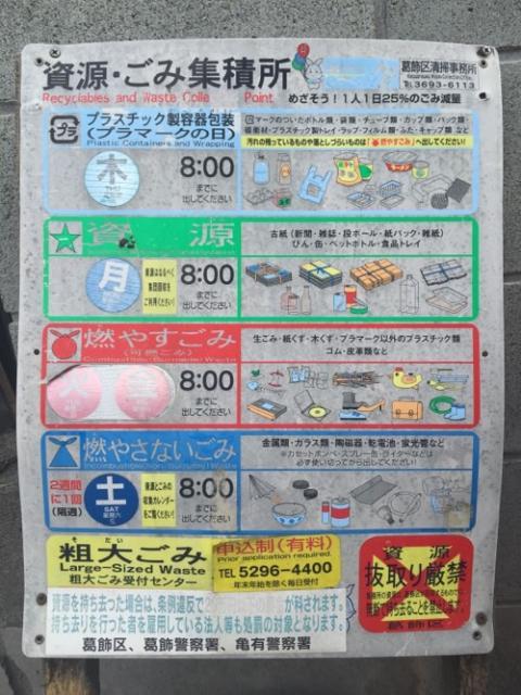 東京都葛飾区のゴミ出しルールが分かる看板
