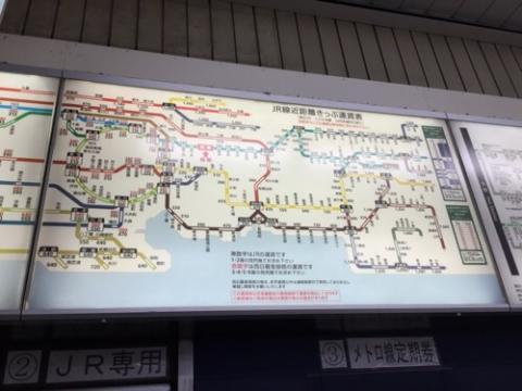 東京都メトロ・JR綾瀬駅の運賃表、路線図、駅票