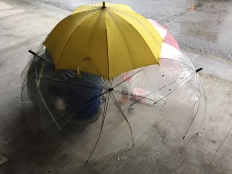 雨降る日に傘の下で遊ぶ子供達