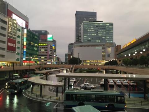 JR仙台駅西口の陸橋の上からの眺め