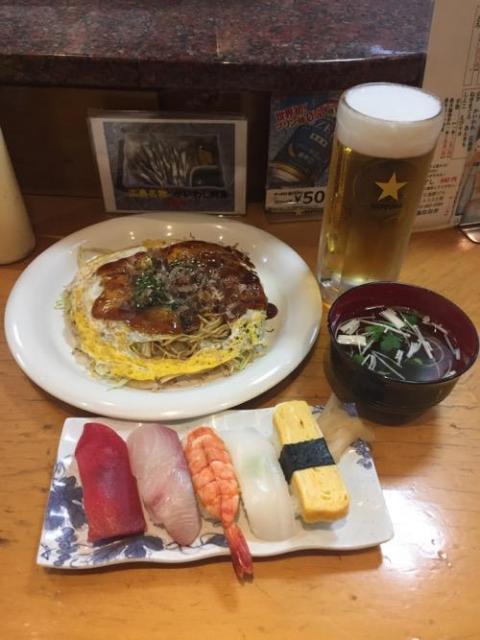 お好み焼きとお寿司のセットを広島駅2階のおゝ井で食べた感想