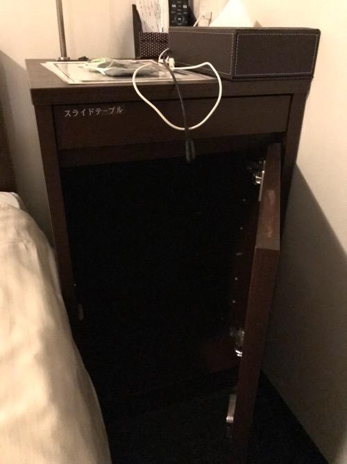 ホテルゆめのゆ エコノミーシングル(簡易宿泊)の室内の机の下の収納スペース