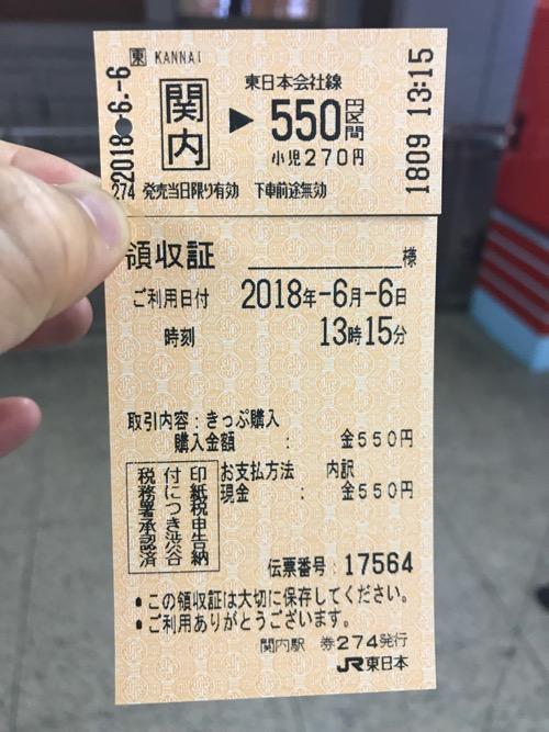 関内駅から東京駅まで行ける550円区間分の切符