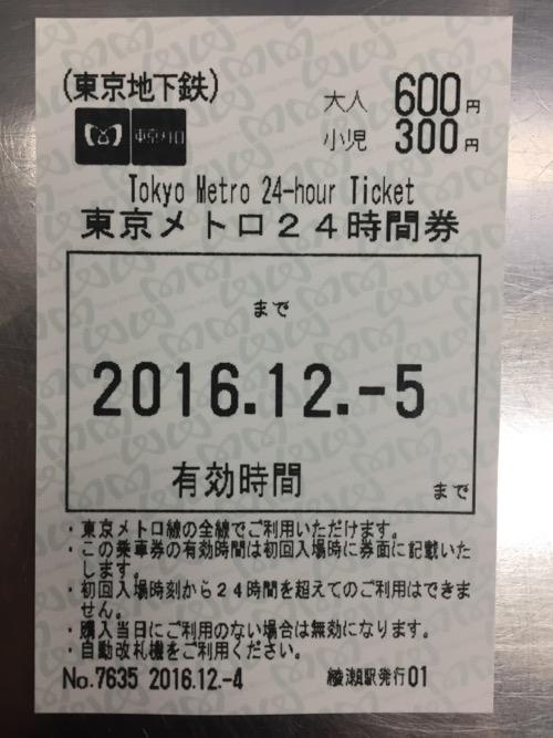 綾瀬駅で購入した東京メトロ24時間券