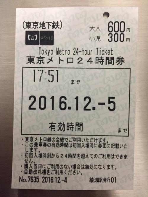 綾瀬駅で購入した東京メトロ24時間券-改札通過後(時刻の記載あり)