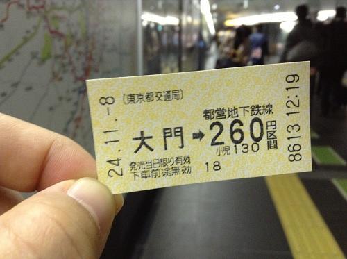 (東京都交通局)都営地下鉄線・大門駅から260円区間の切符