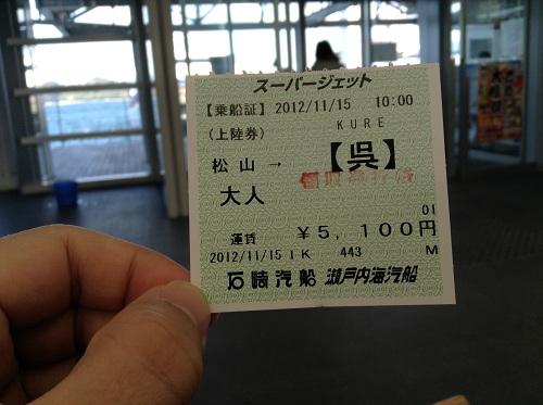 松山観光港で購入したスーパージェットの乗船券(表面)
