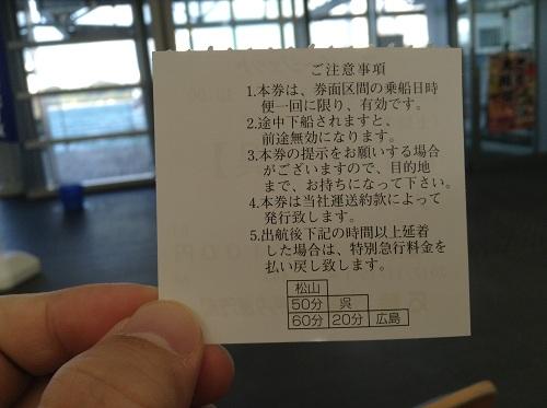 松山観光港で購入したスーパージェットの乗船券(裏面)