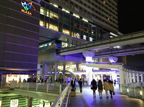小倉駅・小倉城口(駅の南側)付近で見えるクリスマスイルミネーション3