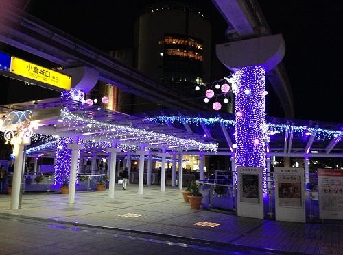 小倉駅・小倉城口(駅の南側)付近で見えるクリスマスイルミネーション4