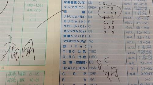 尿酸値が7.9mg/dLを記録した病院の検査結果の一部