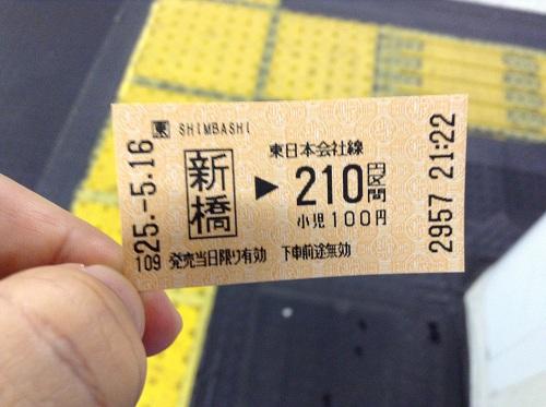 JR東日本の切符(JR新橋駅から210円区間の切符)