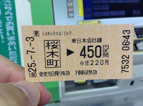 JR桜木町駅から450円区間分の切符