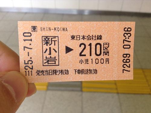 JR新小岩駅から210円区間分の切符