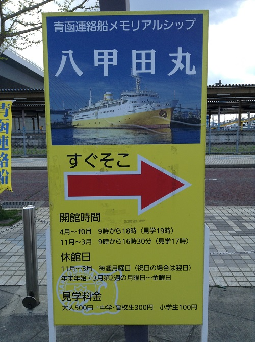 「青函連絡船メモリアルシップ八甲田丸」の見学についての案内看板