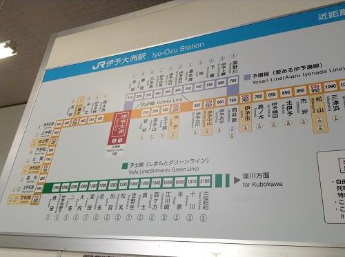 伊予大洲駅駅舎内の路線図(伊予大洲駅付近を拡大)