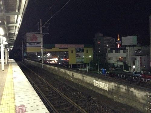JR別府駅(大分県別府市駅前町)の1番ホームから見た駅前の光景(ヤマダ電機が目立つ)
