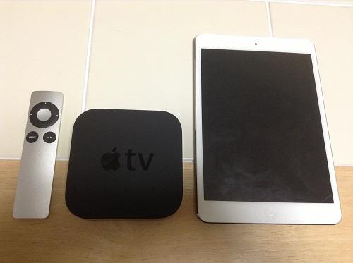 Apple TV MD199J/Aのリモコン、本体、iPad mini