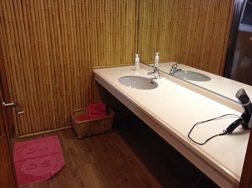 媛彦温泉の家族風呂(日帰りの湯)の貸切部屋内の洗面所、鏡、ドライヤー