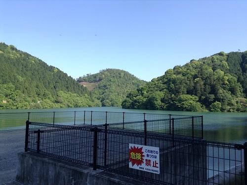 大谷池(愛媛県伊予市南伊予)にある魚釣り禁止の看板