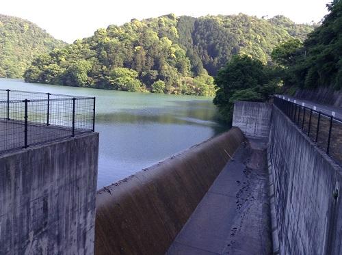 大谷池(愛媛県伊予市南伊予)と道路の間にある巨大な溝
