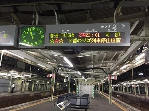 JR広島駅構内の3番線ホームと頭上の電光掲示板