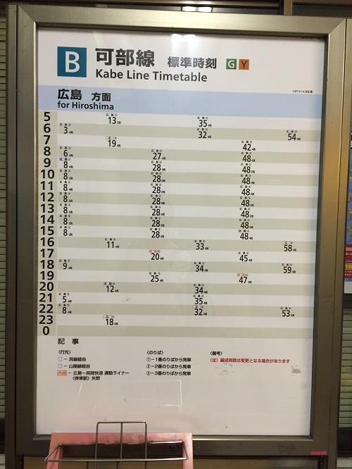 JR可部駅内にある「可部線 標準時刻」(広島方面への時刻表)