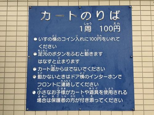 ウェルピア伊予<伊予市都市総合文化施設>(愛媛県伊予市下三谷1761-1)の「カートのりば」にある説明書き