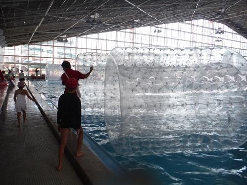 イヨテツスポーツセンター・室内プールの「ハムスターローラー」に乗り込もうとする小学6年生の娘