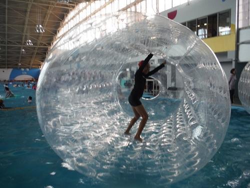 イヨテツスポーツセンター・室内プールの「ハムスターローラー」の中で満面の笑みでハムスターのように歩き回る小学6年生の娘
