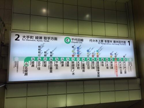 東京メトロ明治神宮前〈原宿〉駅の駅ホームに降りるエスカレーターで見ることができる路線図