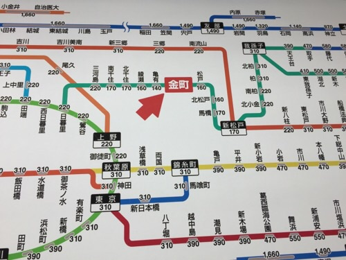 JR金町駅のJR線近距離きっぷ運賃表-金町駅付近