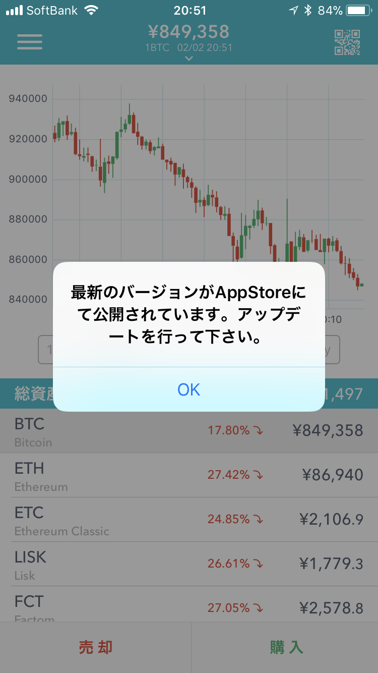 Coincheckアプリに表示された「最新のバージョンがAppStoreにて公開されています。アップデートを行って下さい。」のメッセージ