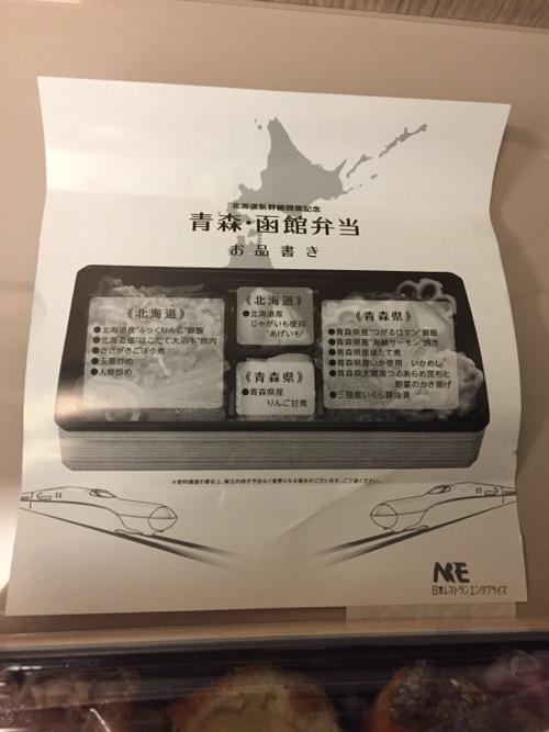 北海道新幹線開業記念 青森・函館弁当の包み紙の裏面