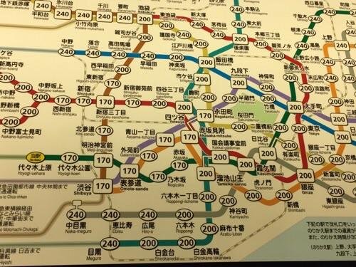東京メトロ千代田線の代々木上原駅の東京メトロきっぷ運賃表-代々木上原駅付近