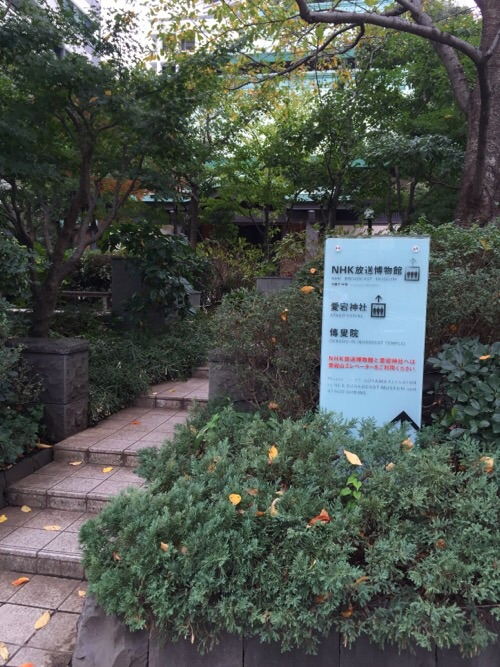 愛宕神社前交差点近くの看板と風景