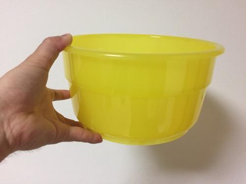 関東版ケロリンの洗面器(横から見た時の様子)