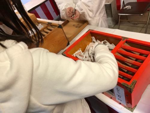 愛媛縣護國神社でおみくじを引く小学六年生の娘