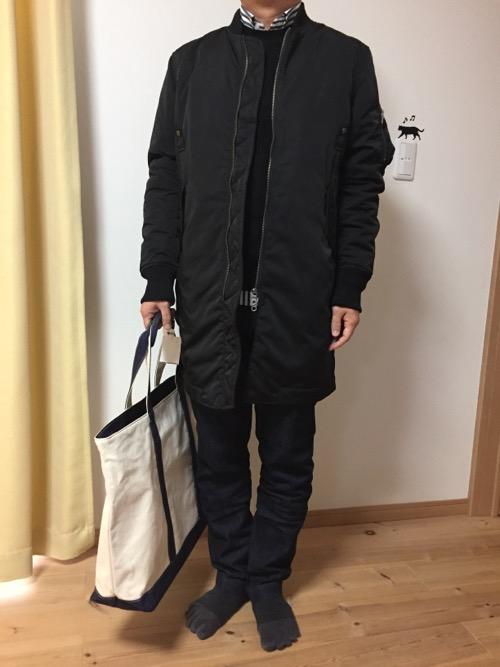2017年のコムサイズムのメンズMサイズの福袋の中身の服を私が全て着た時の様子