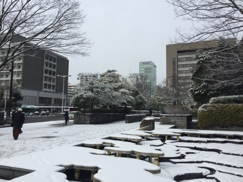 2017年1月24日の勾当台公園駅周辺の雪景色