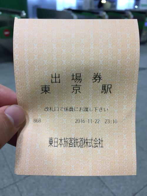 出場券 東京駅