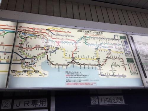 東京メトロ・JR綾瀬駅のJR線近距離きっぷ運賃表
