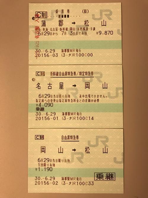 蒲郡駅から松山駅までの乗車券、新幹線自由席特急券/特定特急券、自由席特急券