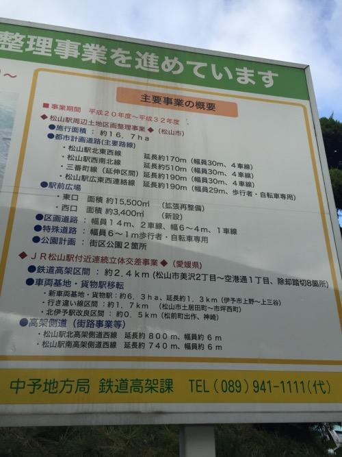 JR松山駅にある看板「連続立体交差事業と一体的に土地区画整理事業を進めています」に記載されている主要事業の概要
