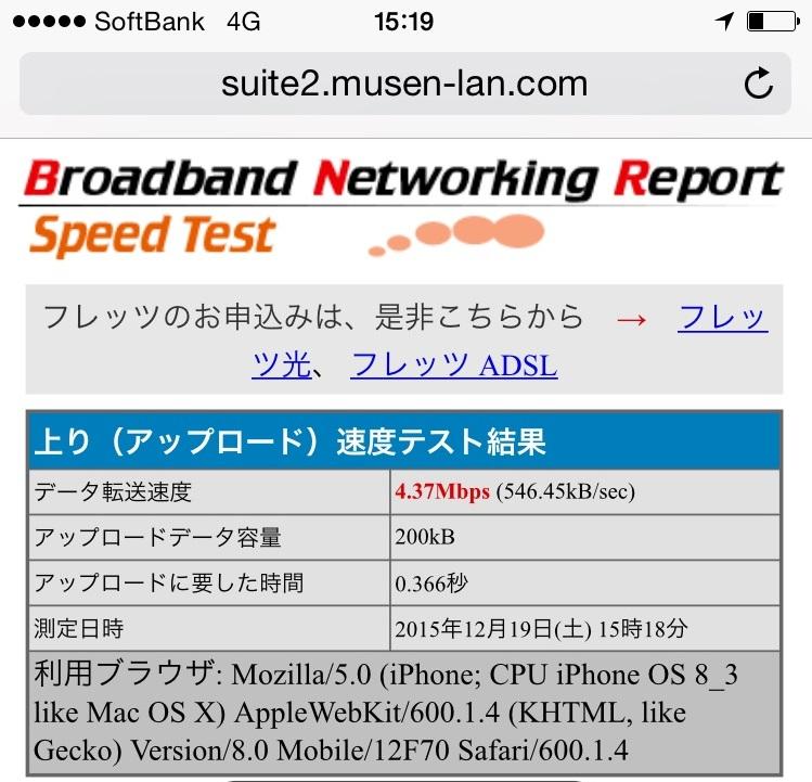 BNRスピードテスト結果画面-上り(アップロード)でのソフトバンクのiPhoneの通信速度 ※通信速度低下後
