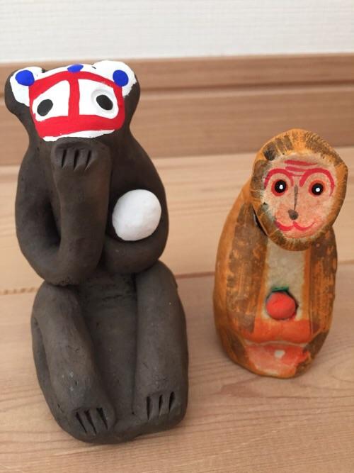 無印良品の2016年の福缶2つに入っていた猿の人形(前から見た様子)