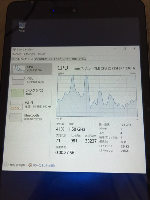 iRULU Walknbook W3Mini 8 JW008(Windows 10タブレット)のCPUの使用状況