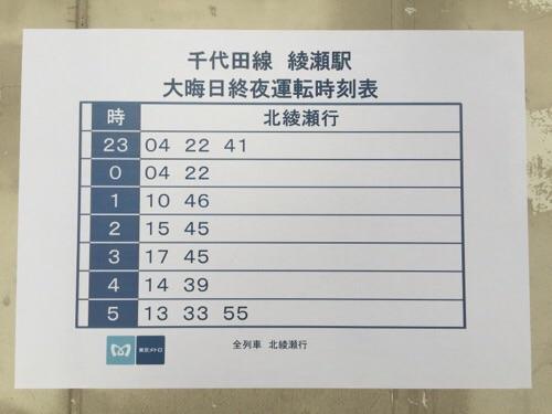 東京メトロ千代田線綾瀬駅-大晦日終夜運転時刻表-北綾瀬ゆき(2015年の年末)